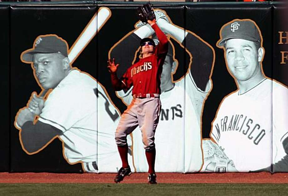 Arizona Diamondbacks left fielder Eric Byrnes catches the final out as the San Francisco Giants leave the bases loaded in the 9th inning. The Arizona Diamondbacks defeated the San Francisco, Tuesday April 15, 2008 Photo By Lance Iversen / San Francisco Chronicle Photo: Lance Iversen, The Chronicle