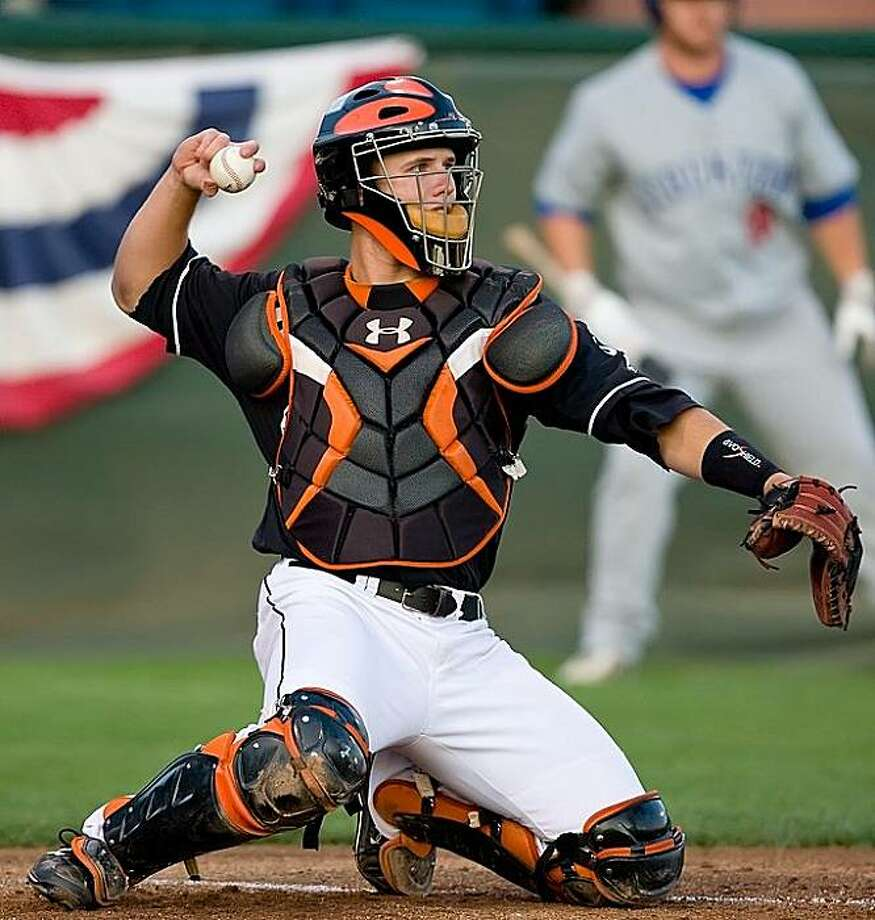 Buster Posey behind the plate for the San Jose Giants in 2009. Photo: San Jose Giants