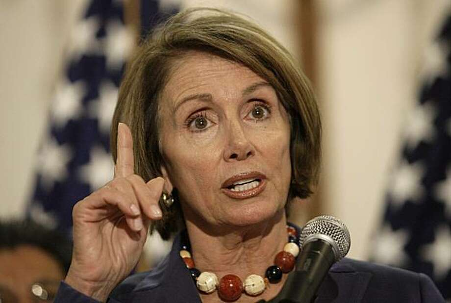 In this photo taken on Thursday, Aug. 20, 2009, Speaker Nancy Pelosi speaks at a news conference after a roundtable discussion on health care issues with religious leaders at St. James Episcopal Church in San Francisco. (AP Photo/Jeff Chiu) Photo: Jeff Chiu, AP