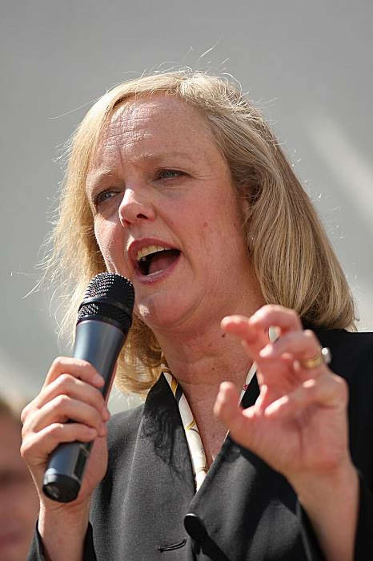 FULLERTON, CA - SEPTEMBER 22: Former eBay CEO Meg Whitman announces her candidacy for the 2010 Republican gubernatorial nomination on September 22, 2009 in Fullerton, California. Whitman will vie for the Republican nomination with state Insurance Commissioner Steve Poizner and former U.S. Rep. Tom Campbell. Gov. Arnold Shwarzenegger is prevented from running again under term limits. Whitman has already received the endorsement of former Republican Gov. Pete Wilson, who will serve as her campaign chairman. (Photo by David McNew/Getty Images)