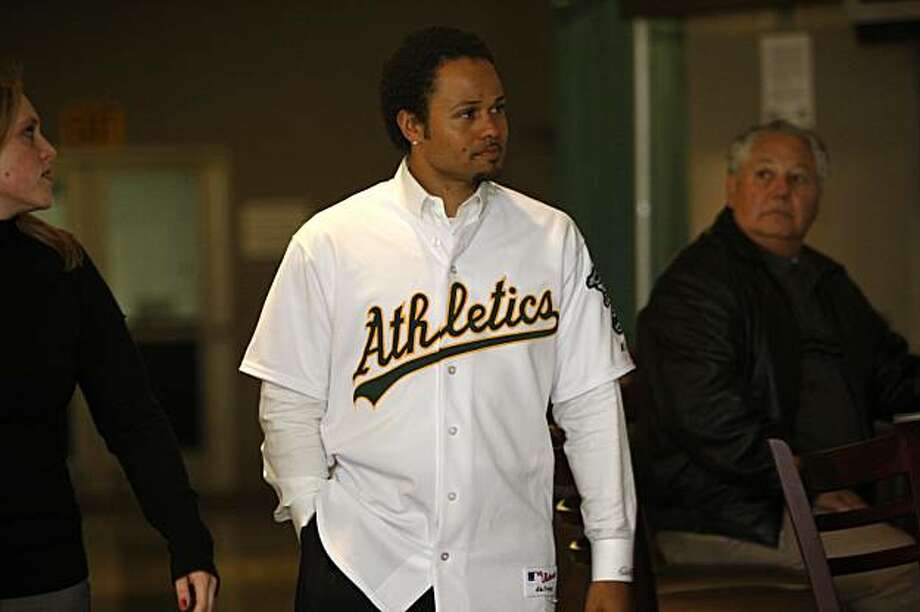 New A's player, Coco Crisp, at The Coliseum in Oakland, Ca., on Thursday, January 21, 2010. Photo: Liz Hafalia, The Chronicle
