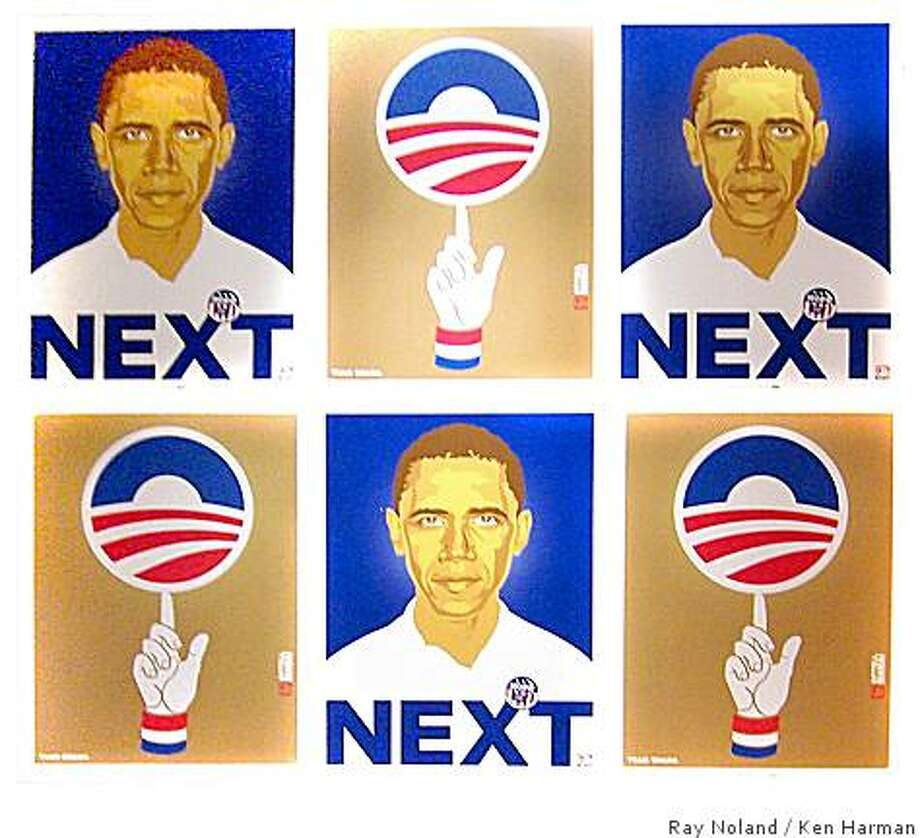 A piece by Ray Noland, a Chicago street artist who stopped off at Hotel des Arts last week in San Francisco, Calif, as part of his Got Next Tour 2008 Art Series, a traveling exhibition of Barack Obama-inspired works Photo: Ray Noland, Ken Harman