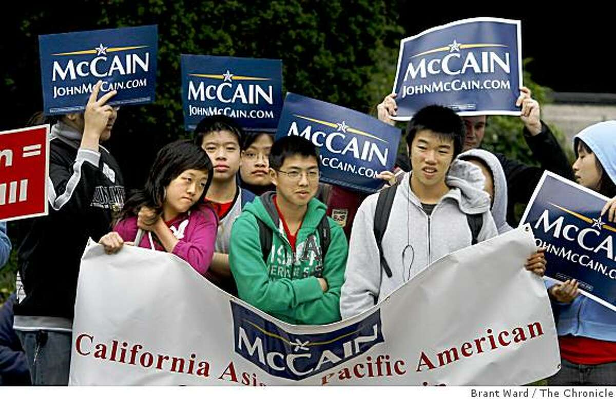 A group of supporters for Sen. John McCain stood outside the Fairmont Hotel where the presumptive republican nominee for president attended a private fundraiser. Photo by Brant Ward / The Chronicle