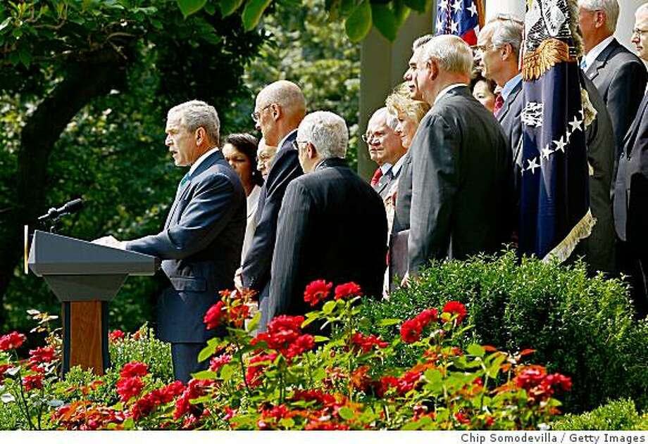 WASHINGTON - JULY 30:  U.S. President George W. Bush (L) makes a statement with members of his Cabinet in the Rose Garden at the White House July 30, 2008 in Washington, DC. Bush demanded that Congress lift the ban on off-shore oil exploration of the outer continental shelf before taking their summer recess.  (Photo by Chip Somodevilla/Getty Images) Photo: Getty Images