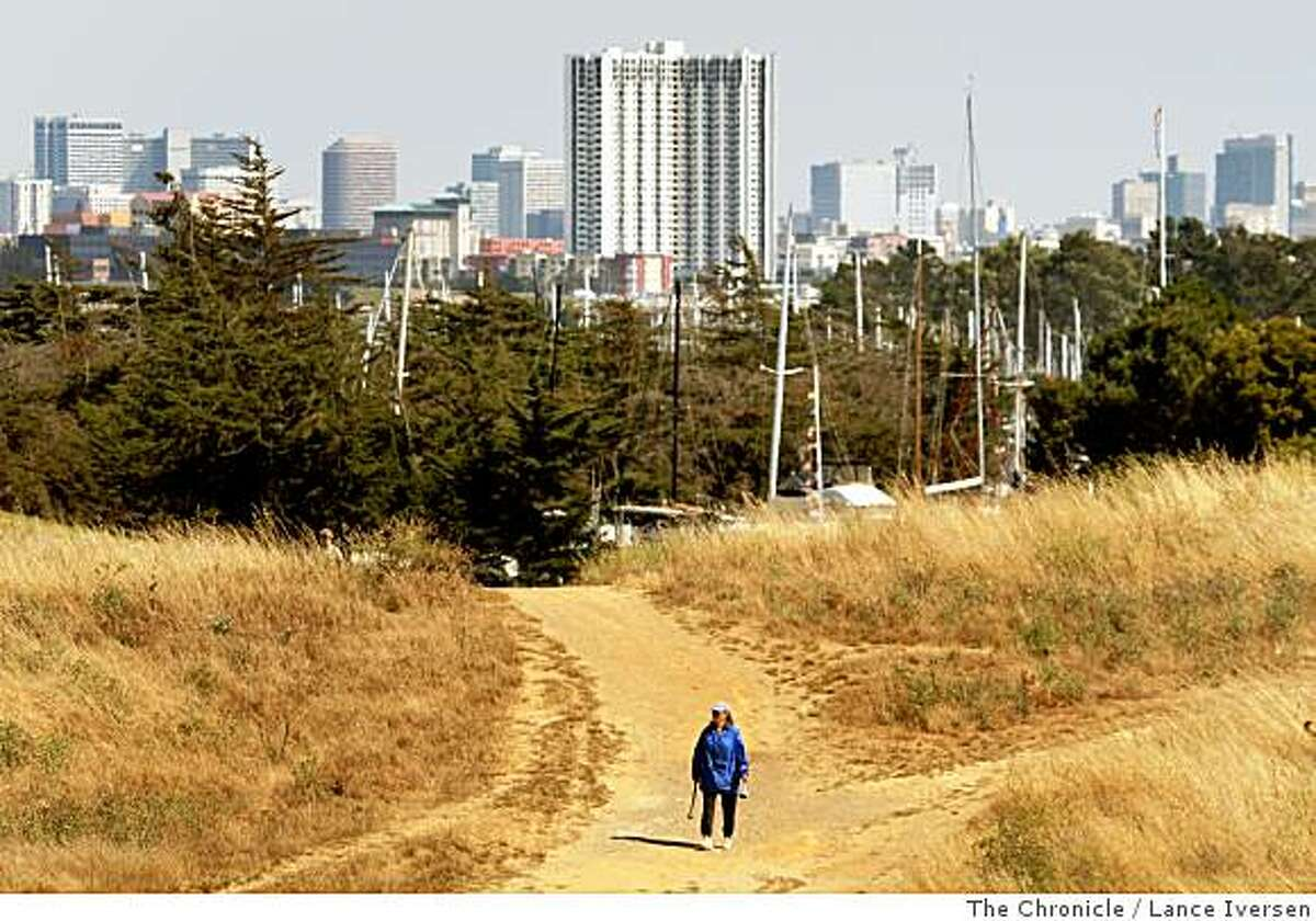 The Oakland skyline can be scene from one of the many trails at Berkeley's C?sar E. Ch?vez Park, located next to the Marina off Spinnaker Way. The park offers spectacular views of the Bay and San Francisco from it's paved and dirt trails. Photographed Tuesday July 1, 2008 in Berkeley By Lance Iversen / The Chronicle