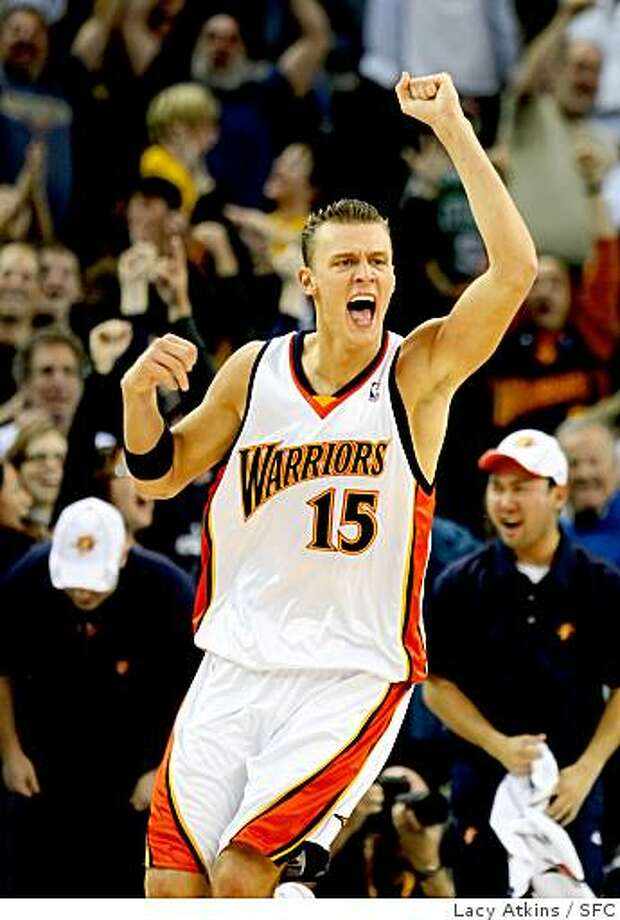 Golden State Warriors Andris Biedrins cheers after Baron Davis scores in the last seconds beating the Boston Celtics, 119-117, Wednesday Feb. 20, 2008 in Oakland, Ca. Photo: Lacy Atkins, SFC