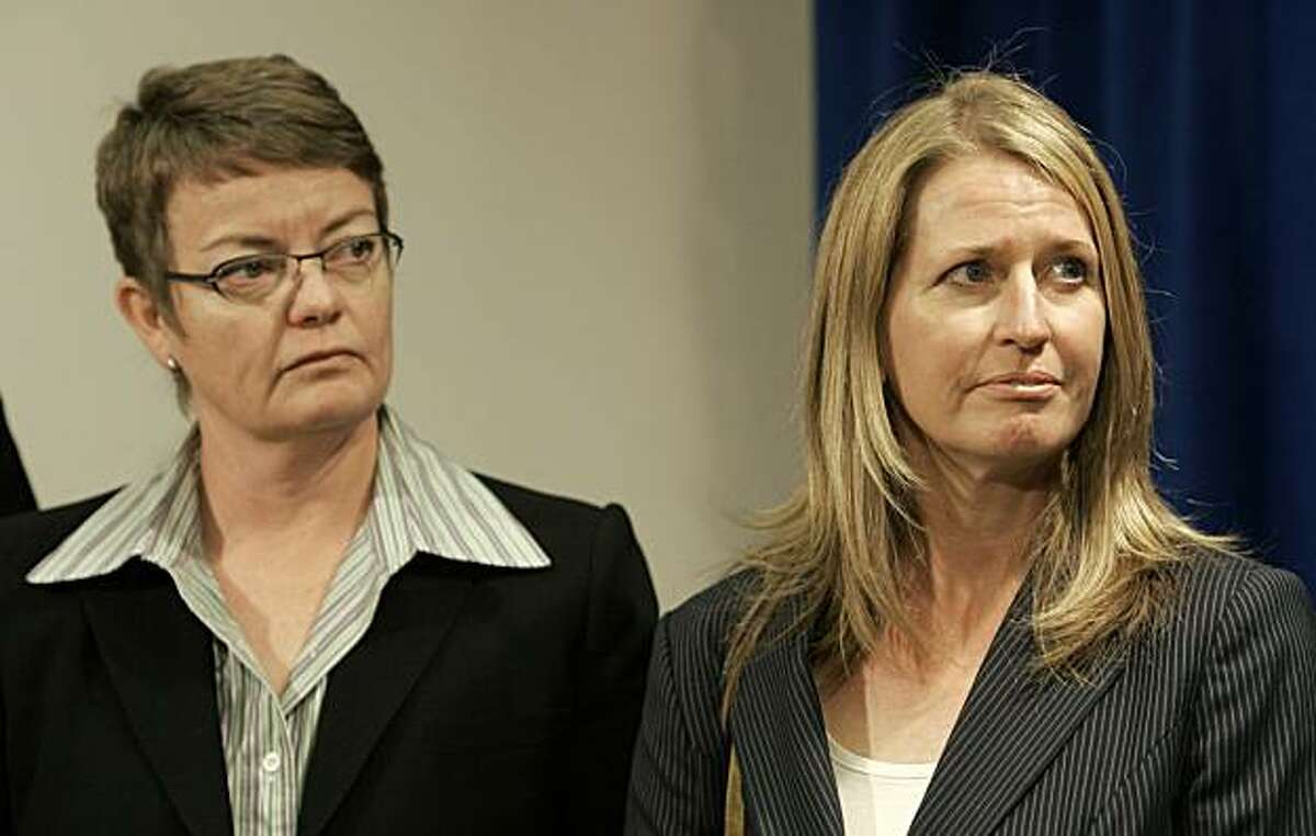 In this photo from July 2, 2009, Kristin Perry, left, and Sandra Stier are shown at a news conference at the Federal Building in San Francisco.