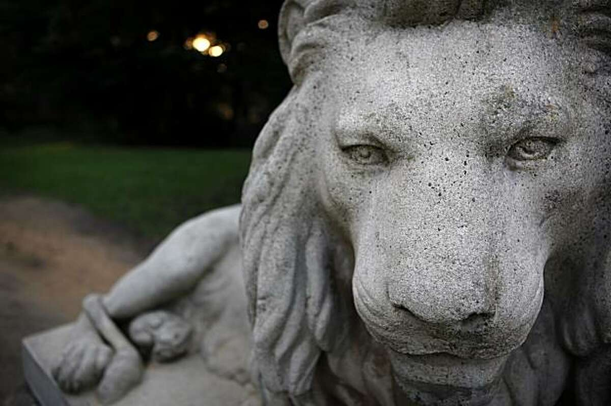 One of the lion statues at the entrance of Sutro Heights Park in San Francisco, Calif. In 1885 Adolph Sutro opened the Heights to the public who were encouraged to wander the gardens, breath the sea air and gaze at the exploding waves. In the 1920s Sutro Heights was given to the city, and today it is managed by the Golden Gate National Recreation Area as Sutro Heights Park.