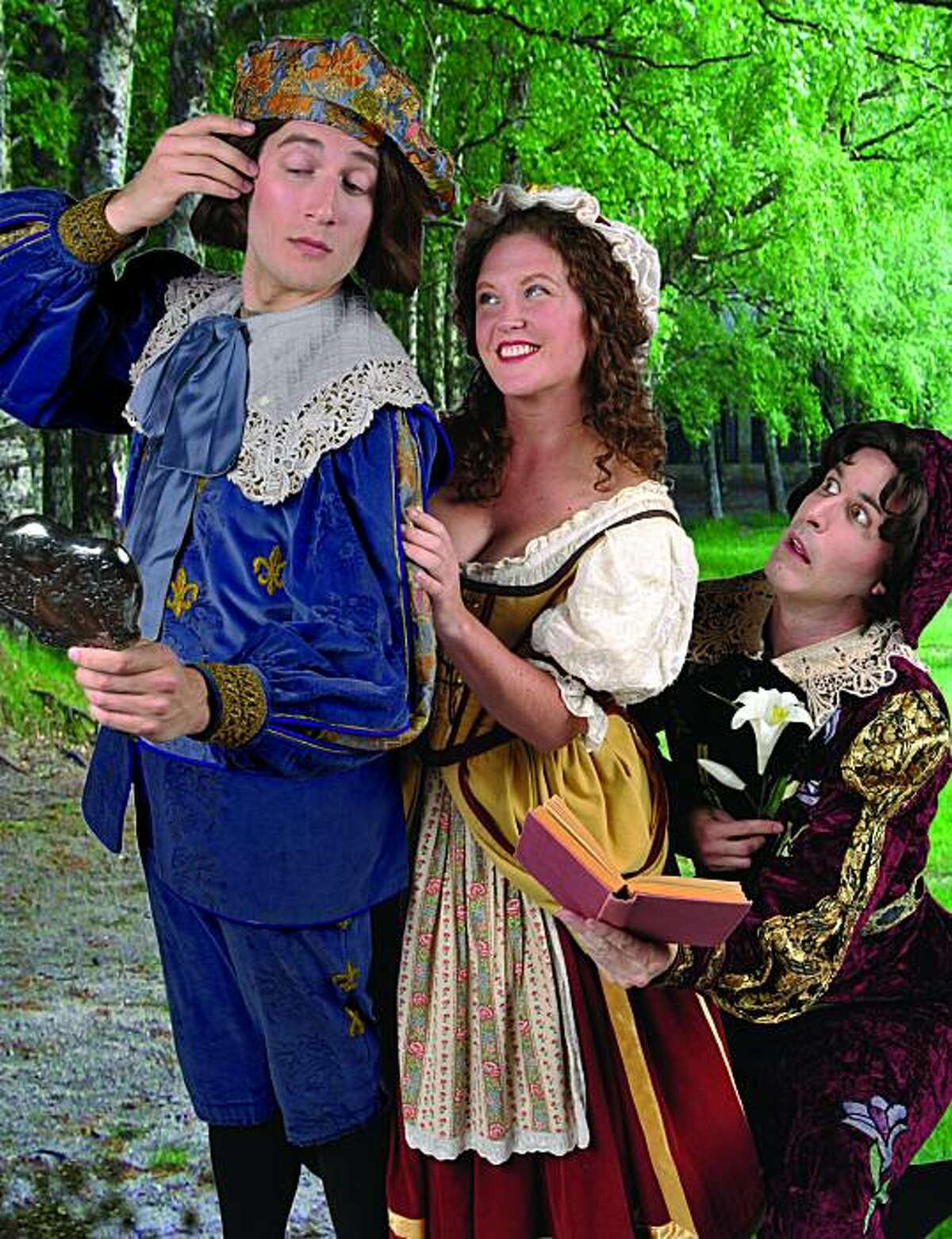 Chris Uzelac as Grosvenor, Jennifer Ashworth as Patience and F. Lawrence Ewing as Bunthorne in Gilbert & Sullivan's
