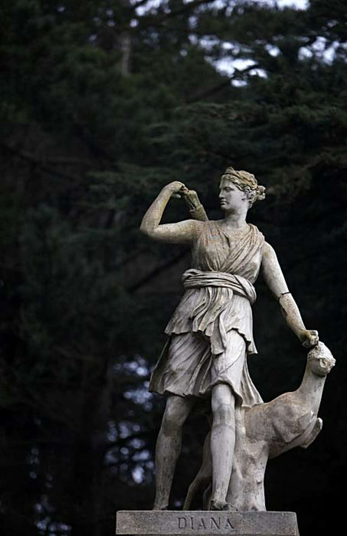 Diana the Huntress statue in Sutro Heights Park. In 1885 Adolph Sutro opened the Heights to the public who were encouraged to wander the gardens, breath the sea air and gaze at the exploding waves. In the 1920s Sutro Heights was given to the city, and today it is managed by the Golden Gate National Recreation Area as Sutro Heights Park.