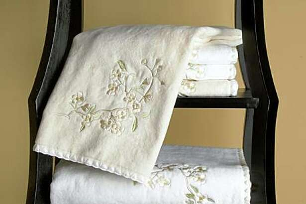 Ikebana towels from Nancy koltes at Home, $138 for bathsheet, now $69; hand towel $28 now $14.
