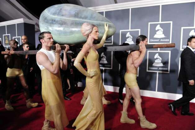 "Lady Gaga made her red carpet entrance in an egg in 2011. According to her handlers, she was ""incubating."" Photo: ROBYN BECK, AFP/Getty Images / 2011 AFP"
