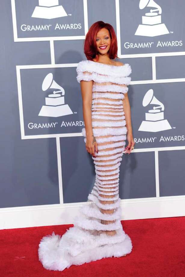 Rihanna, in 2011, might be the only girl in the world who can rock fuzzy stripes on the red carpet.  Photo: ROBYN BECK, AFP/Getty Images / 2011 AFP
