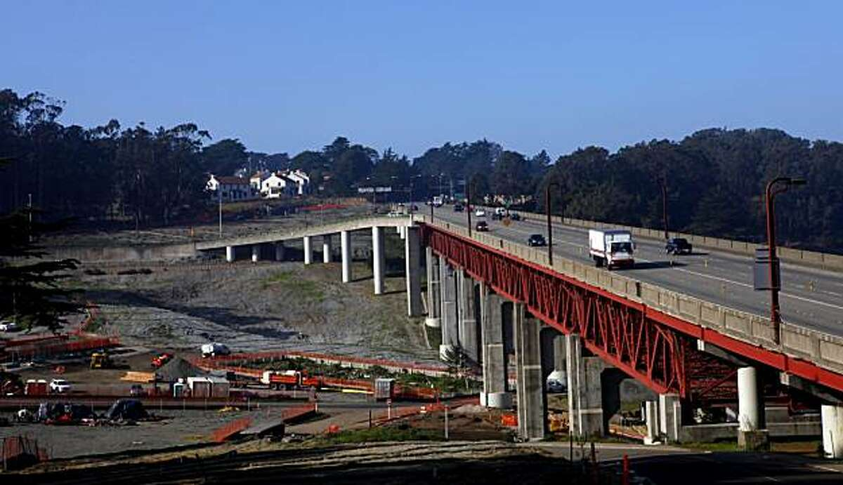 Construction has started on the Doyle Drive replacement roadway south of the Golden Gate Bridge running through the Presidio, Monday Jan.4, 2010, in San Francisco, Calif.