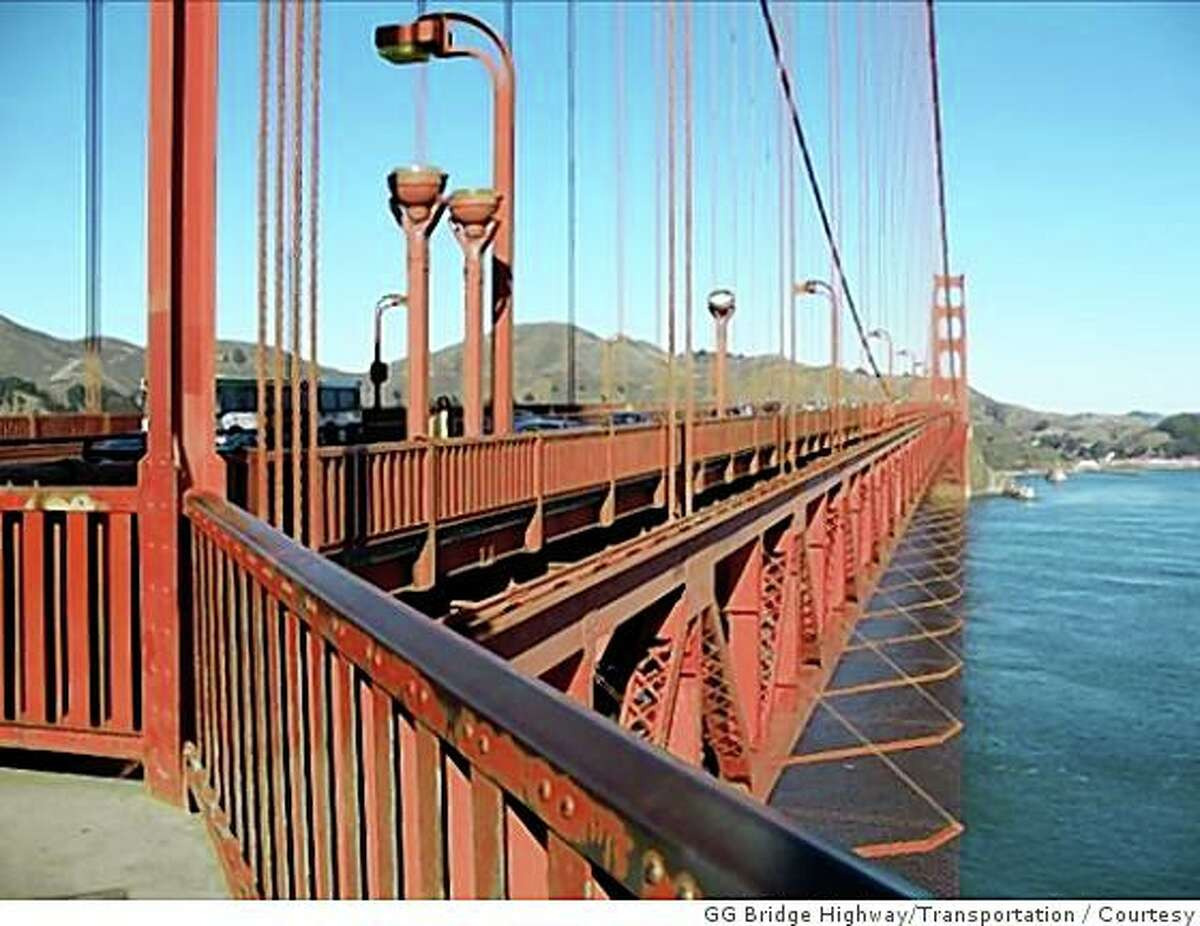 Designs of new Golden Gate Bridge suicide barrier, including replacement rails and a net that extends out from the sides of the bridge. Courtesy of Golden Gate Bridge Highway and Transportation District