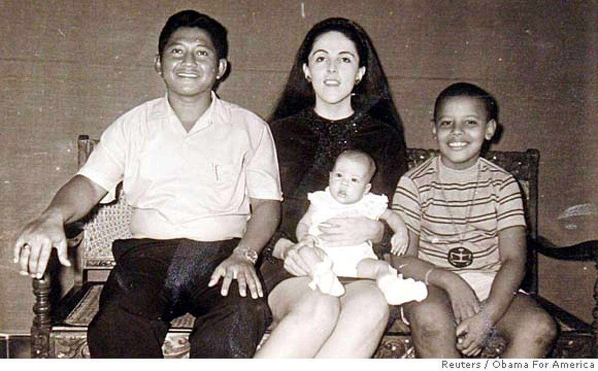 US Democratic presidential candidate Senator Barack Obama (D-IL) (R) is seen with his step-father Lolo Soetoro (L) his sister Maya Soetoro and his mother Ann Dunham (C) in an undated family snapshot released by his presidential campaign, February 4, 2008. Obama, now a 46-year-old first-term U.S. senator from Illinois who would be the first black US president, heads into Super Tuesday's slate of 22 Democratic state primaries and caucuses in a tight race with Hillary Clinton to become the party's presidential nominee. REUTERS/Obama For America/Handout (UNITED STATES) US PRESIDENTIAL ELECTION CAMPAIGN 2008 (USA). EDITORIAL USE ONLY. NOT FOR SALE FOR MARKETING OR ADVERTISING CAMPAIGNS.