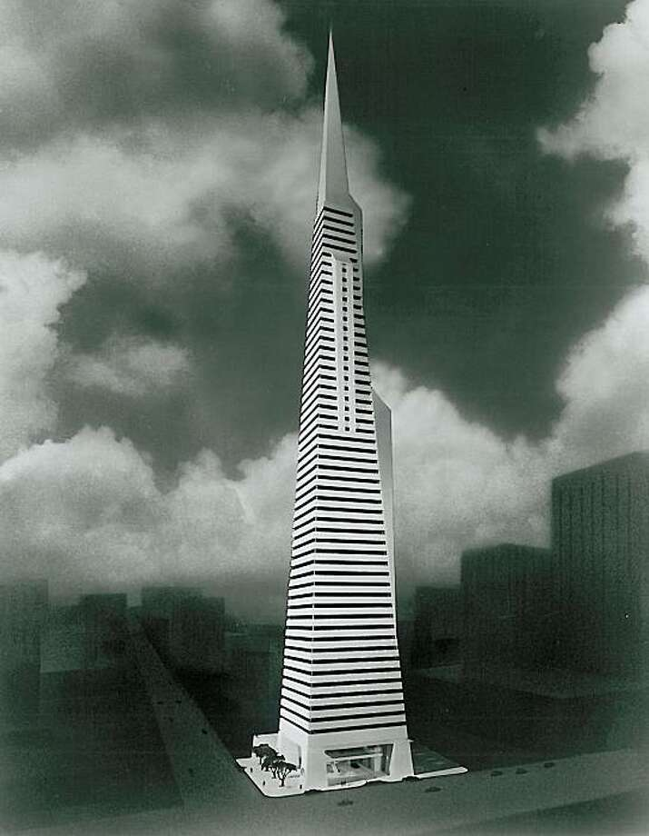 The original design for what now is known as the Transamerica Pyramid, made public in January of 1969, was 1,000 feet tall -- even higher than the 853-foot tower that eventually was built. Photo: Courtesy, Aegon USA