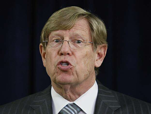 Attorney Theodore Olson speaks during a news conference in San Francisco, Monday, Jan. 11, 2010. Olson is representing same-sex couple Kristin Perry and Sandra Stier. The first federal trial to determine if the U.S. Constitution prohibits states from outlawing same-sex marriage gets under way in San Francisco on Monday, and the two same-sex couples on whose behalf the case was brought will be among the first witnesses. Photo: Paul Sakuma, AP