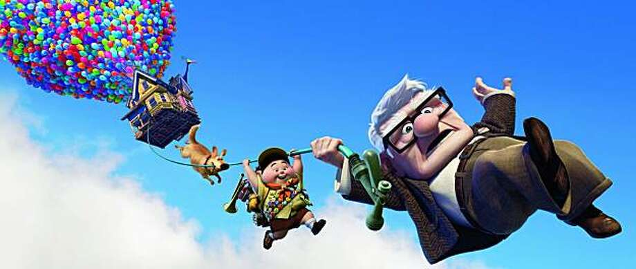 "Dug  (from left), Russell  and Carl Fredricksen in ""Up."" ""UP""  (L- R) Dug, Russell, Carl Fredricksen   �Disney/Pixar.  All Rights Reserved. Photo: Disney 2009"