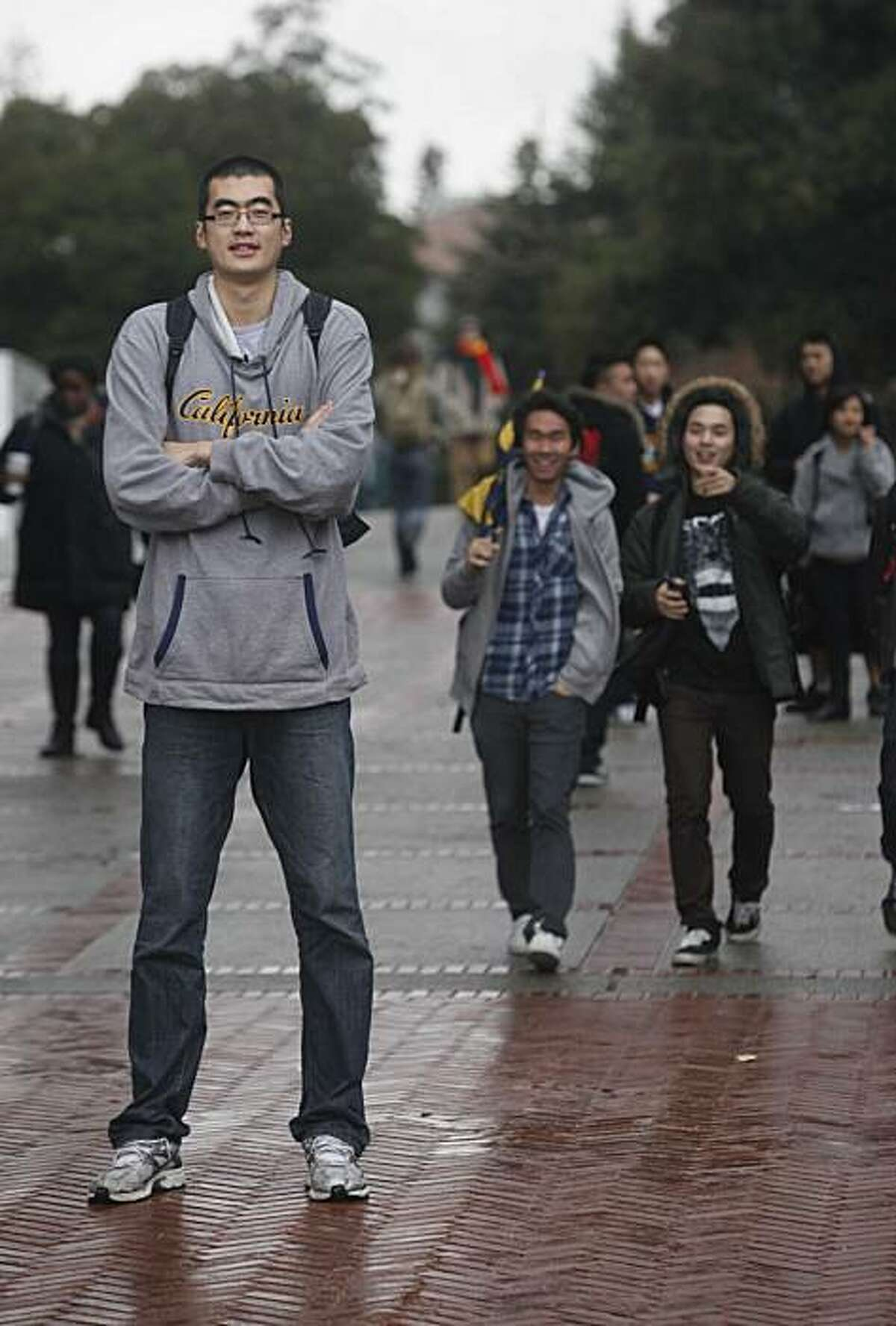 Cal Men's 7 foot tall basketball player, Max Zhang stands for a portrait in Sproul Plaza on the first day of the new semester on Tuesday January 19, 2010 in Berkeley, Calif.