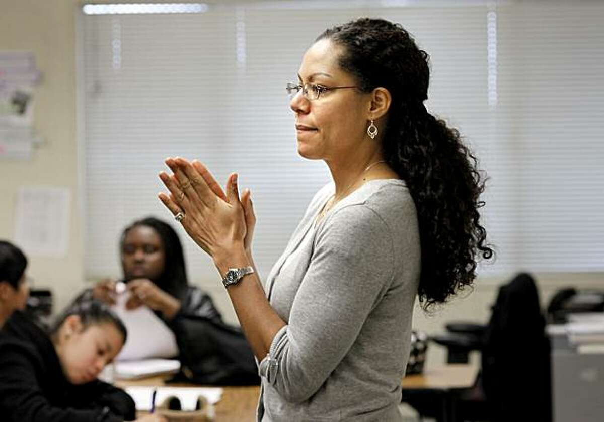Teacher Danielle Johnson talks to her classroom of seniors about philanthropy. San Francisco's Excelsior district charter high school, Center for Arts and Technology, is considered a real success story in the controversy about charter vs. regular schools in San Francisco.
