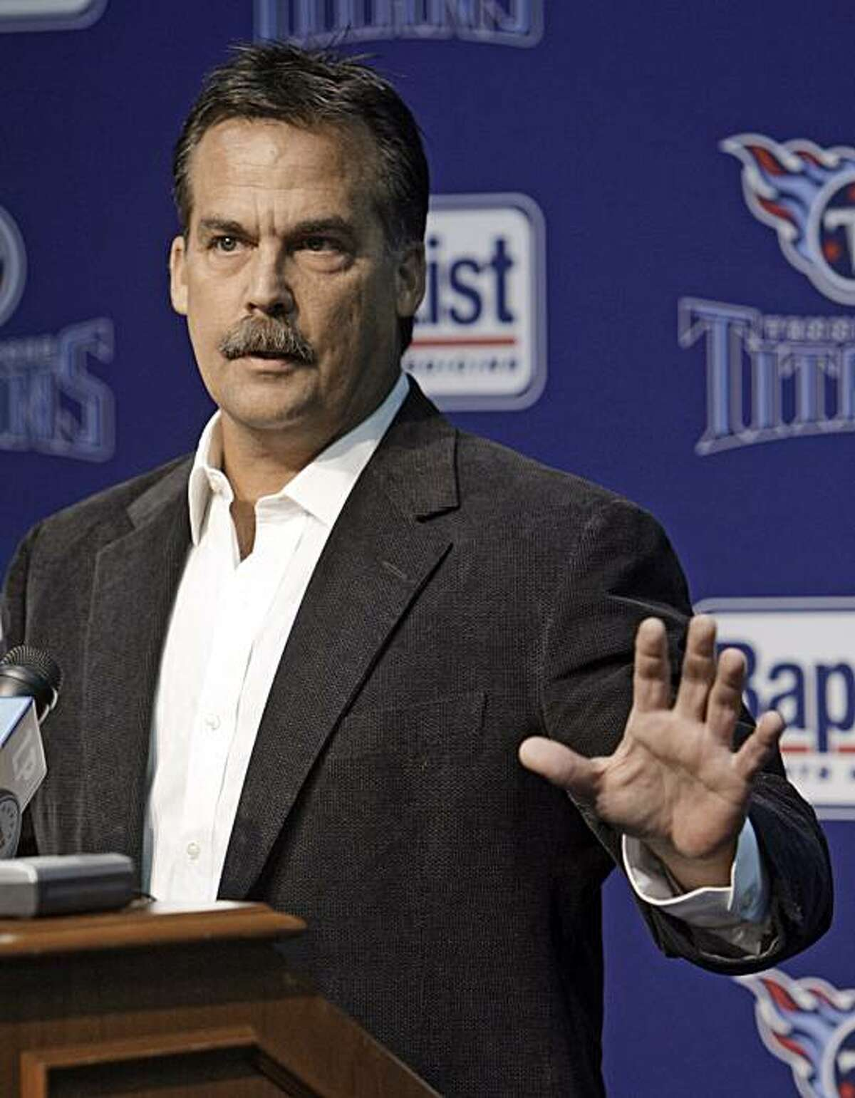 Tennessee Titans head coach Jeff Fisher talks about Steve McNair, one of his former players, in Nashville, Tenn., Monday, July 6, 2009. McNair, a former NFL quarterback with the Houston Oilers, Tennessee Titans, and Baltimore Ravens, was found dead of gunshot wounds along with a 20-year-old woman in a downtown Nashville condominium July 4, according to police. (AP Photo/Mark Humphrey)