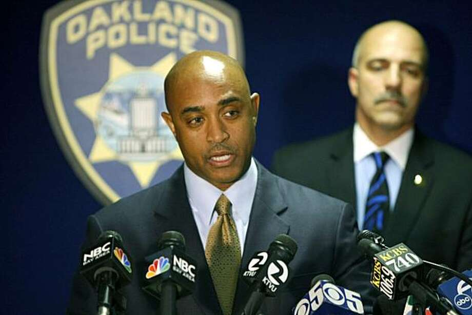 Oakland Police chief Anthony Batts along with Capt Ben Fairow rear addressed the media regarding the Board of Inquiry findings surrounding the murders of four Oakland Police officer on March 21st 2009 by Oakland resident Lovell Mixon. Jan. 6, 2010 Photo: Lance Iversen, The Chronicle