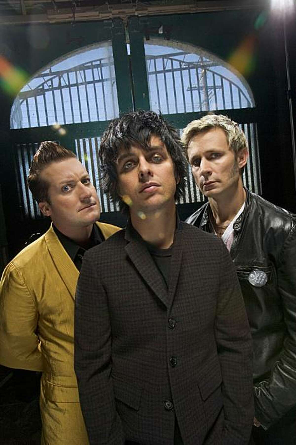 Green Day-the Grammy Award-winning band comprised of (l to r) Tré Cool, Billie Joe Armstrong and Mike Dirnt-are collaborating with Berkeley Rep to bring their multiplatinum album American Idiot to the stage. Photographer: Phil Mucci