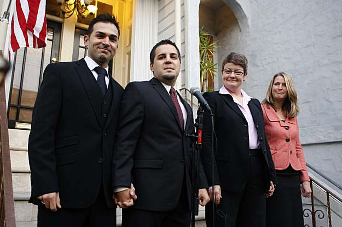 Left to right--Paul Katami, Jeffrey Zarillo, Kristin Perry, and Sandra Stier were denied the right to marry and are making a statement before leaving for the trial in San Francisco, Ca., on Monday, January 11, 2010.