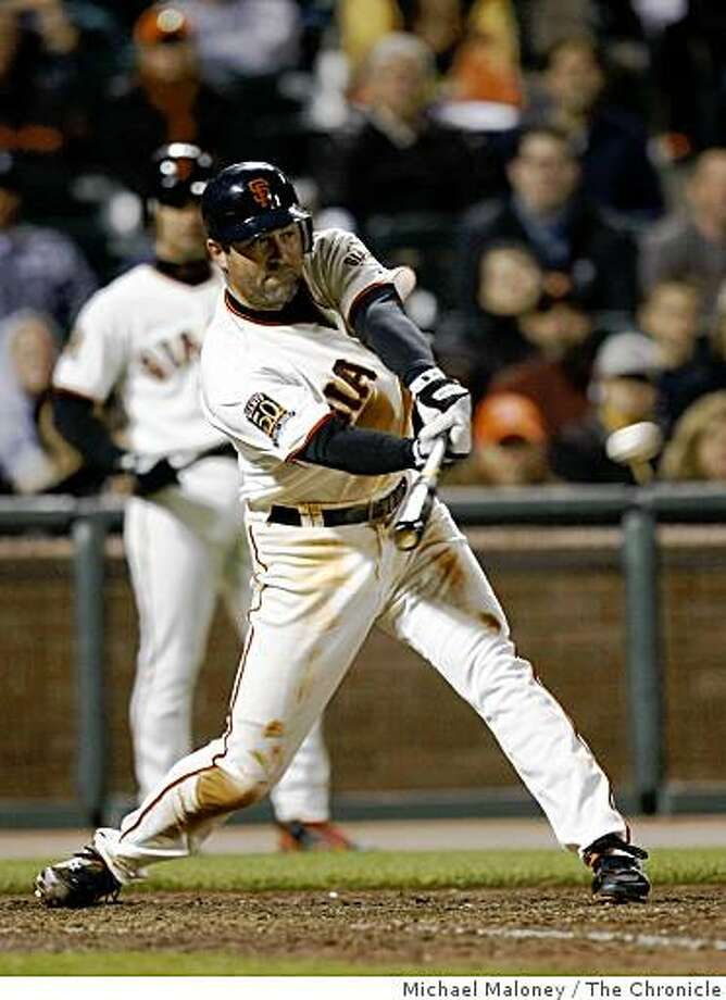 San Francisco Giants Rich Aurilia connects with an 8th inning rbi double to put the Giants ahead.The San Francisco Giants host the Washington Nationals in a MLB game at AT&T Park in San Francisco, Calif., on July 23, 2008.Photo by Michael Maloney / The Chronicle Photo: Michael Maloney, The Chronicle