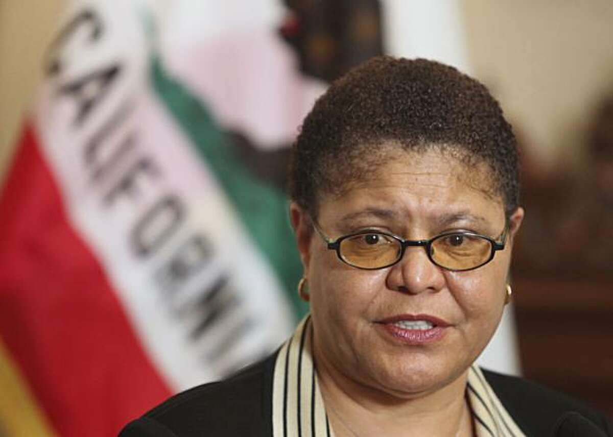Assembly Speaker Karen Bass, D-Los Angeles, told reporters that the Assembly would bring up, before the Assembly, a Democratic plan to deal with the state's pending cash crisis during a news conference at the Capitol in Sacramento, Calif., Sunday, June 28, 2009.(AP Photo/Rich Pedroncelli)