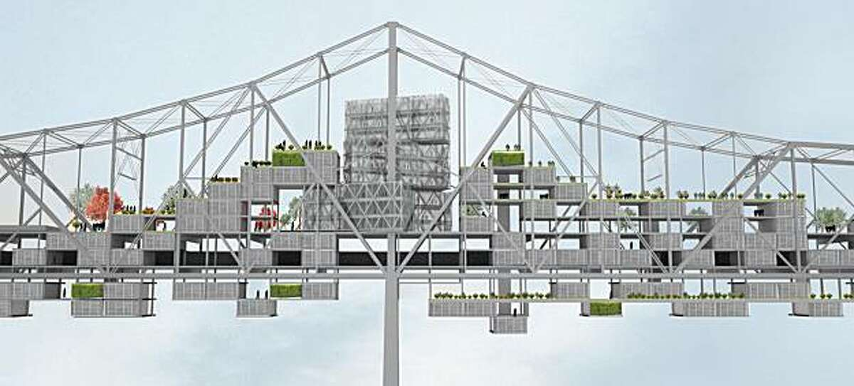 One of the architectural renderings by David Dana for his design imagining the east span of the Bay Bridge recycled for use as a community including farms, housing and a nine-story hotel. From a graduate studio held in the fall of 2009 at UC Berkeley's College of Environmental Design