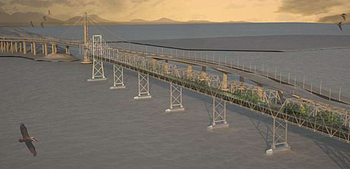 This rendering by Nicole Lew shows her design to renovate the east span of the Bay Bridge as a park with housing on the lower deck. From a graduate studio held in the fall of 2009 at UC Berkeley's College of Environmental Design