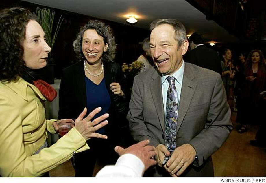 San Francisco Jewish Film Festival director Peter Stein (R) mingles with Ellen Ullman (L) and Connie Wolf (C) at the opening of the festival Thursday July 24, 2008 in San Francisco. Photo: ANDY KUNO, SFC