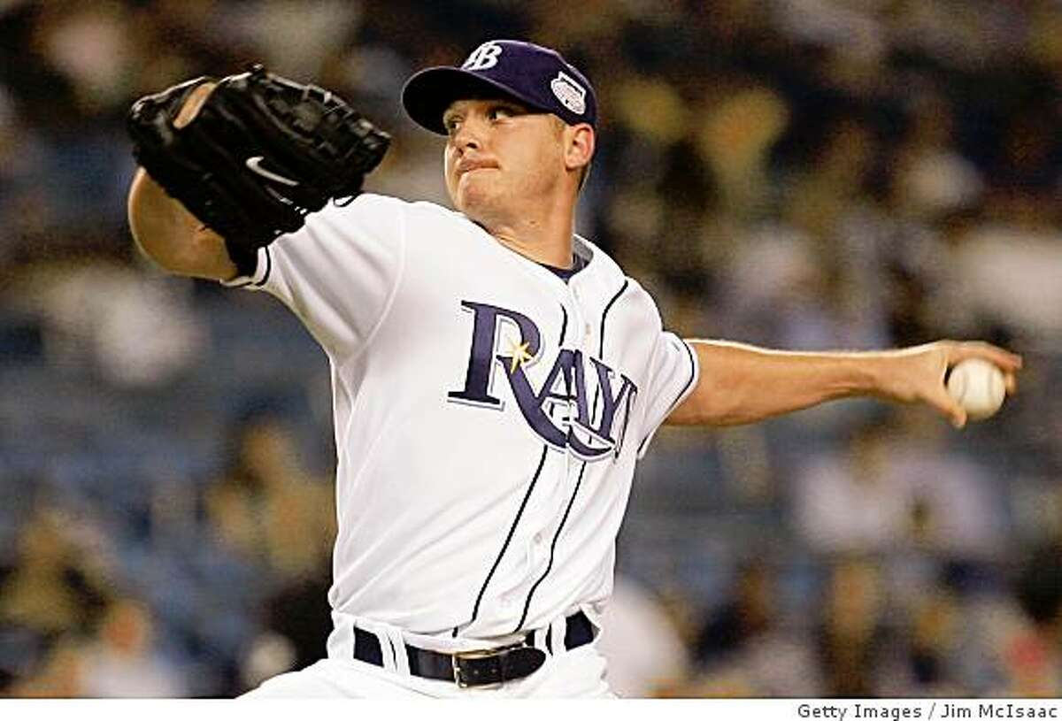 NEW YORK - JULY 15: American League All-Star Scott Kazmir #19 of the Tampa Bay Rays pitches in the 15th inning during the 79th MLB All-Star Game at Yankee Stadium on July 15, 2008 in the Bronx borough of New York City. (Photo by Jim McIsaac/Getty Images)