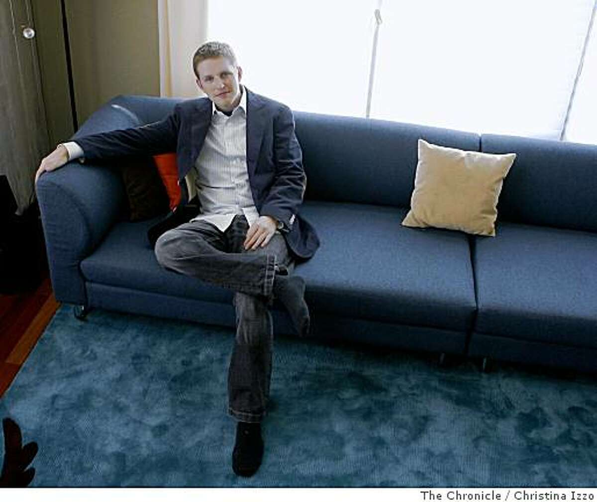 Matt Mullenweg, 24, who just landed $29.5 million in funding for his program WordPress, relaxes in his home on Wednesday, June 25, 2008, in San Francisco, Calif. Photo by Christina Izzo / The Chronicle