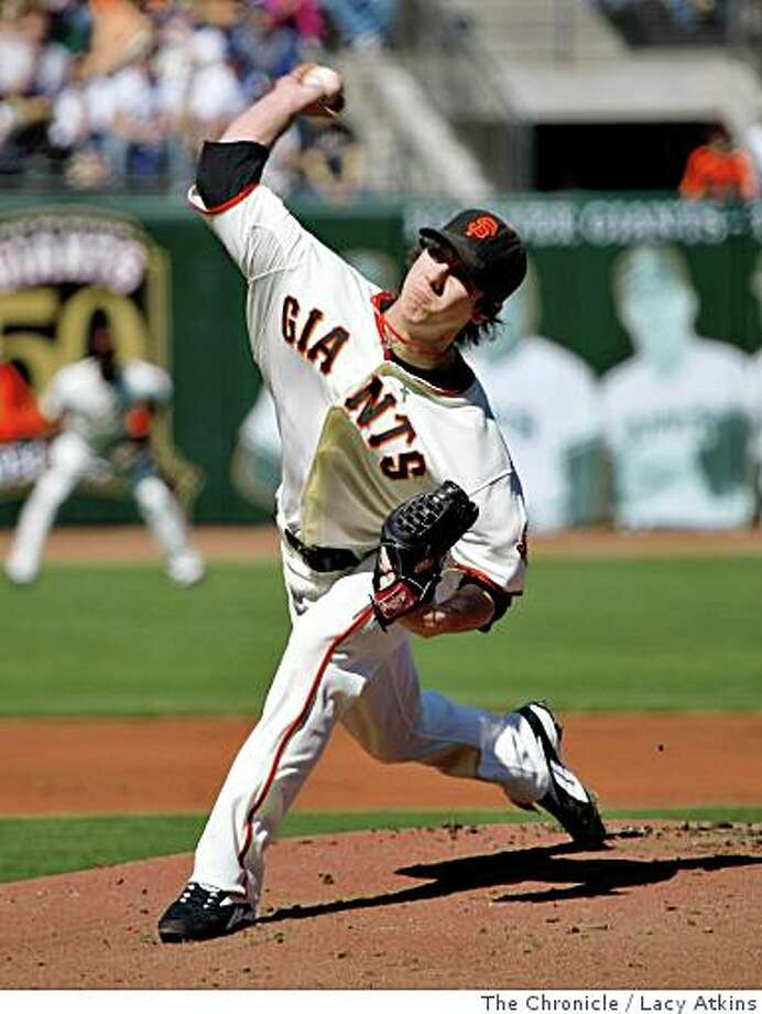 Giants pitcher Tim Lincecum pitches against the Chicago Cubs Thursday July 3, 2008, in San Francisco, Calif.Photo by Lacy Atkins /The Chronicle Photo: Lacy Atkins, The Chronicle