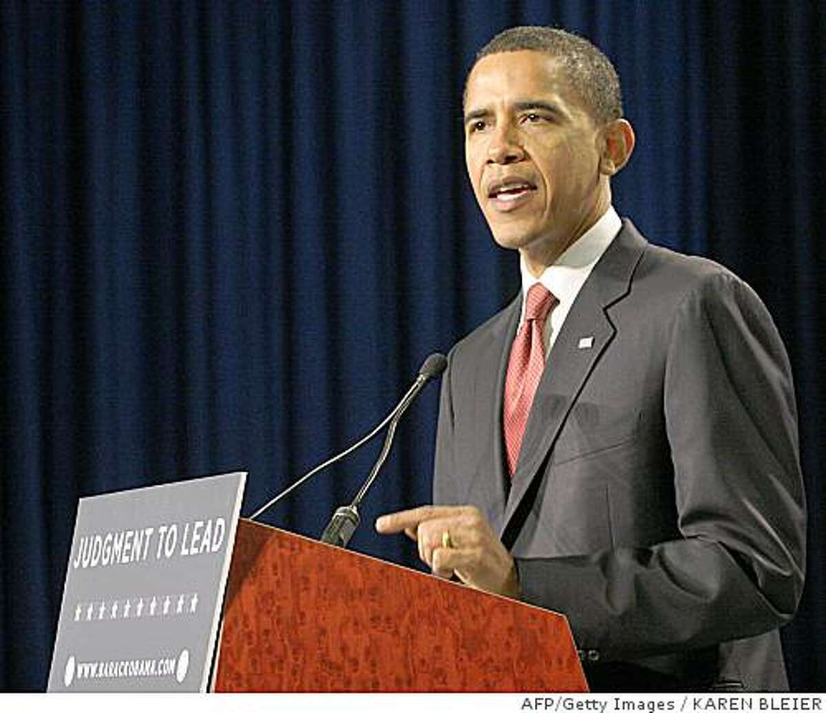 Presumptive Democratic presidential candidate Illinois Sen. Barack Obama delivers remarks on July 15, 2008 at the Ronald Reagan Building in Washington, DC. White House hopeful Barack Obama Tuesday promised to shift the