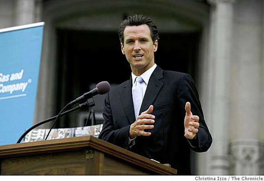 Mayor Gavin Newsom speaks in front of Grace Cathedral about the importance of going green on Wednesday, July 16, 2008, San Francisco, Calif. A new plan was announced on Wednesday, July 16, 2008, to install solar panels on Grace Cathedral, San Francisco, Calif. Photo by Christina Izzo / The Chronicle Photo: Christina Izzo, The Chronicle