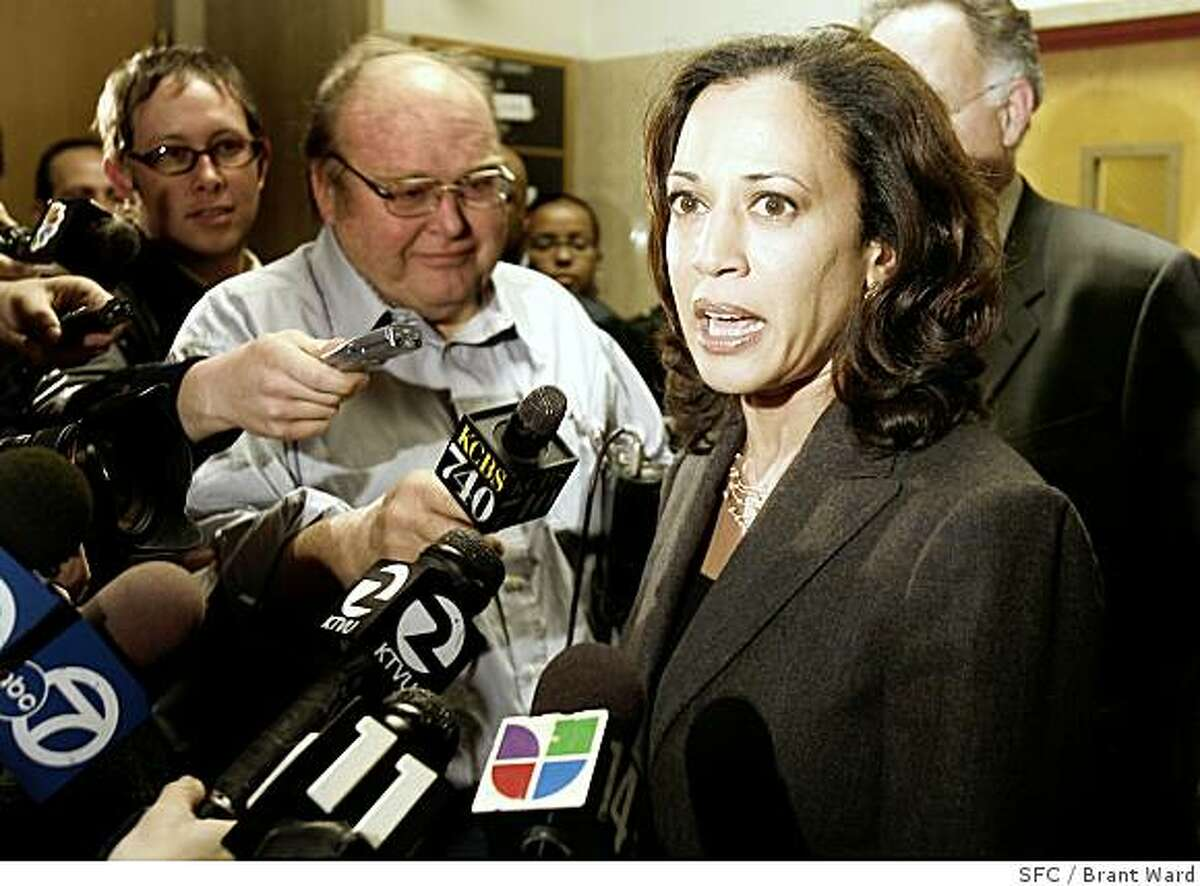 San Francisco District Attorney Kamala Harris talked with reporters about the decision not to seek the death penalty. David Hill was convicted of 2nd degree murder Thursday January 4 in the killing of plainclothes SFPD officer Issac Espinoza. The scene is the San Francisco Hall of Justice where family members and attorneys walked by the press. NOTE: Please check name spellings with story copy. Names are correct but spelling relied on news people and cops that had other things on their mind. {Brant Ward/San Francisco Chronicle}1/4/07