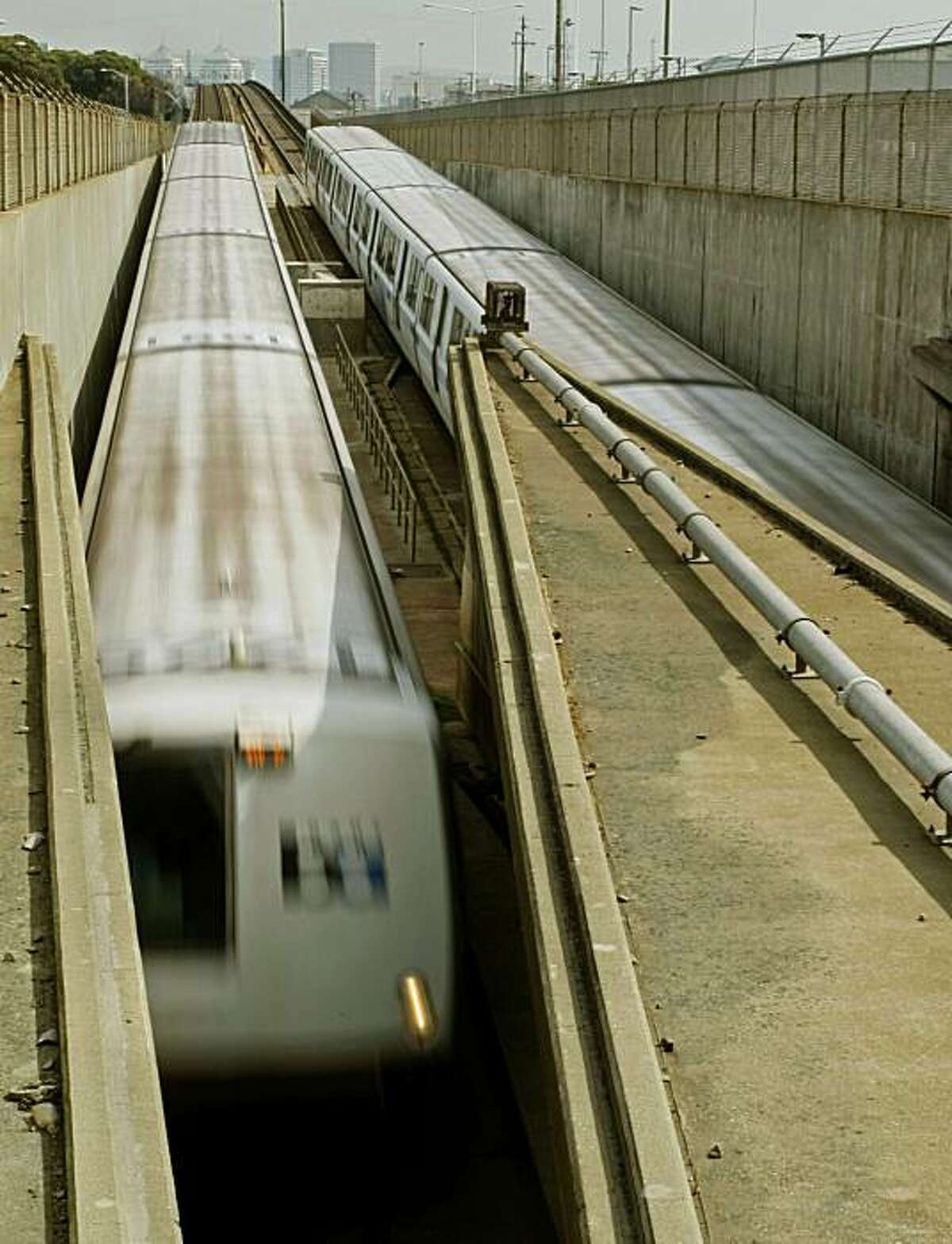 BART trains move into and out of the West Portal tunnel in West Oakland, Calif., on Mar. 7, 2008. State bond money will be used to earthquake retrofit the BART tube that carries thousands of passengers each day into and out of San Francisco, Calif., under San Francisco Bay. Photo by Michael Macor/ San Francisco Chronicle
