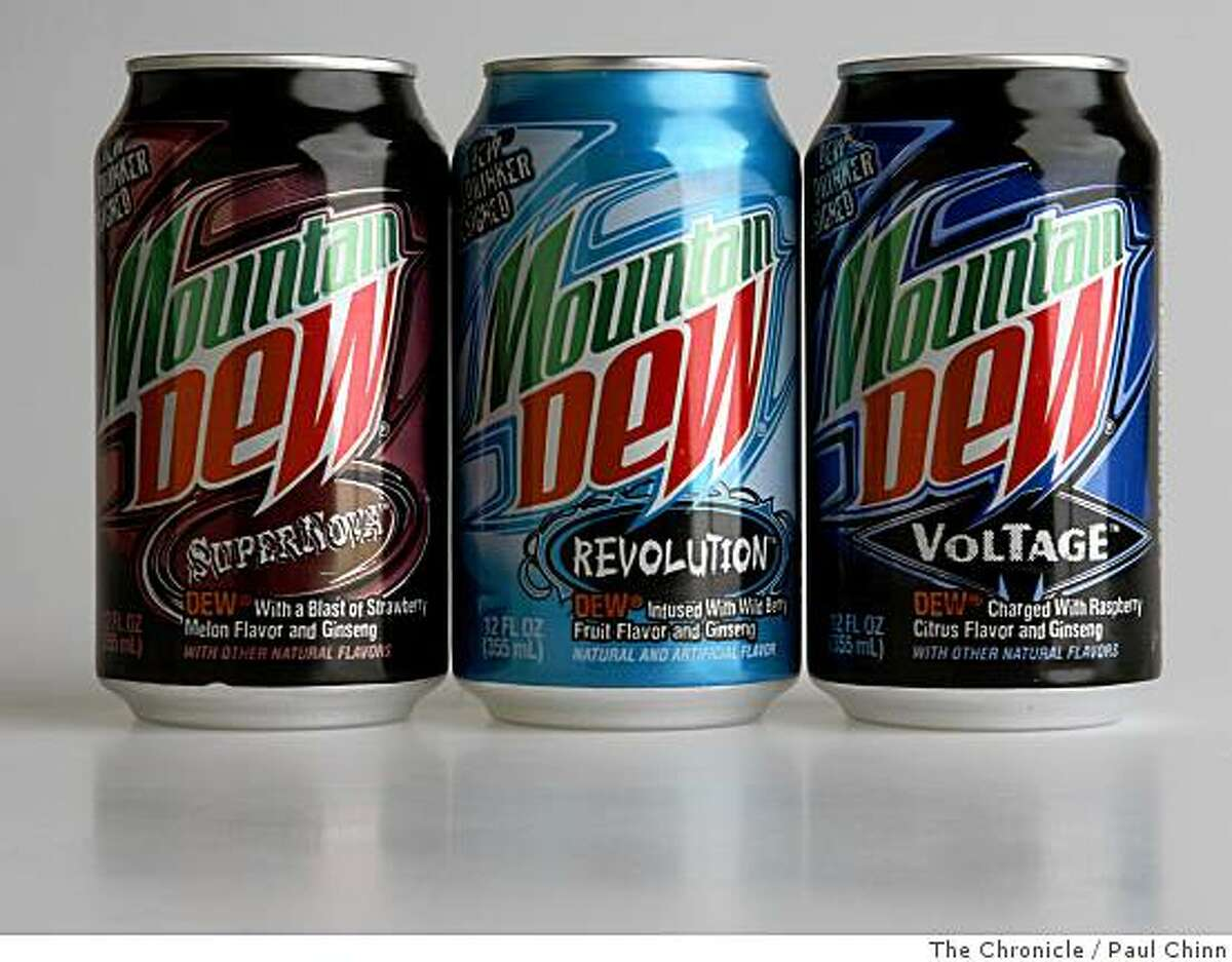 Three new Mountain Dew flavors are shown in San Francisco, Calif., on Wednesday, July 16, 2008. Parent company PepsiCo invited the public to sample the three flavors and vote at an online website for their favorite. The flavor with the most votes will become a permanent product.Photo by Paul Chinn / The Chronicle