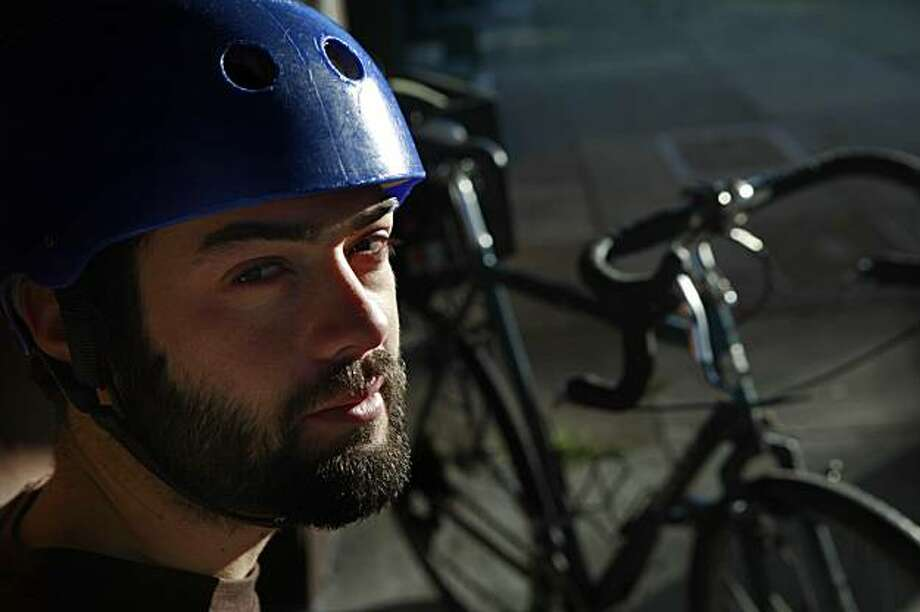 Adam Greenfield of San Francisco, who pledged to live car free in 2009, is seen with his bicycle in San Francisco, Calif. on Tuesday December 22, 2009. Photo: Lea Suzuki, The Chronicle