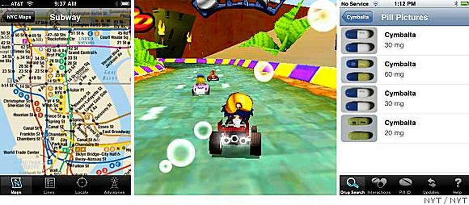(NYT47) UNDATED -- July 16, 2008 -- CIR-IPHONE -- From left, images on the iPhone of the CityTransit NYC Subway Guide, Crash Bandicoot Nitro Kart 3D and Epocrates Rx. Apple turned on the tap for its iPhone App store last week, unleashing more than 500 applications for iPhone users. If you have an iPhone, you just might forget the device is capable of making phone calls, since you'll be so busy updating Facebook pages, coveting your neighbor's co-op and wielding your handset to swerve around virtual racetracks. (The New York Times)*EDITORIAL USE ONLY* Photo: NYT
