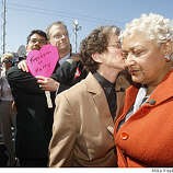 "Stuart Gaffney and John Lewis and Diane Sabin and Jewelle Gomez, the former plaintiffs in the case for same-sex marriage, react to California Supreme Court decision  outside the California Supreme Court in San Francisco. The judges decided to uphold Prop. 8 but to allow same same-sex marriages from 2008 to still be valid.  "" We're deeply disappointed. Democracy is not about the tyranny of the majority,"" said Sabin."