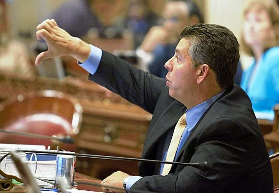 State Senator Abel Maldonado (R- Santa Maria), votes no on a prison reform bill September 11, 2009, at the state Capitol as the legislature attempts to pass dozens of bill before a midnight deadline. Photo: Robert Durell, Special To The Chronicle