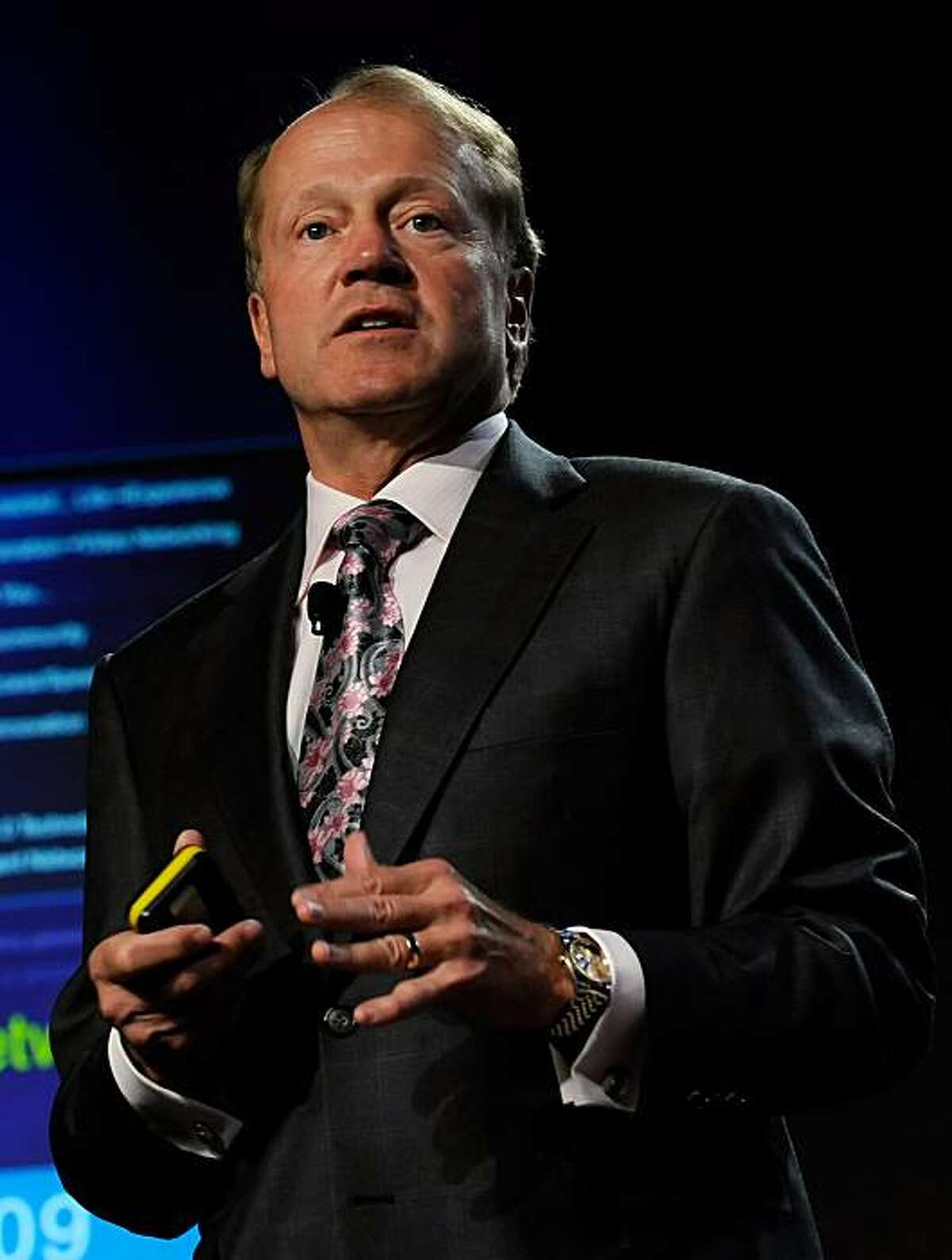 LAS VEGAS - JANUARY 06: Cisco Systems chairman and CEO John Chambers speaks during a press event at the 2010 International Consumer Electronics Show at the Venetian January 6, 2010 in Las Vegas, Nevada. CES, the world's largest annual consumer technologytradeshow, runs from January 7-10 and is expected to feature 2,500 exhibitors showing off their latest products and services to about 110,000 attendees.