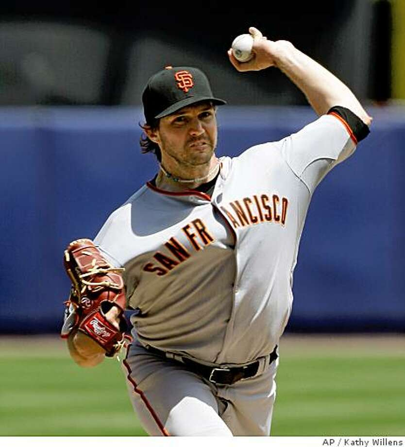 San Francisco Giants Barry Zito delivers a pitch in the second inning against the New York Mets in their baseball game at Shea Stadium in New York, Thursday, July 10, 2008. Zito allowed three runs on four hits, walked six and struck out two in five innings. (AP Photo/Kathy Willens) Photo: Kathy Willens, AP