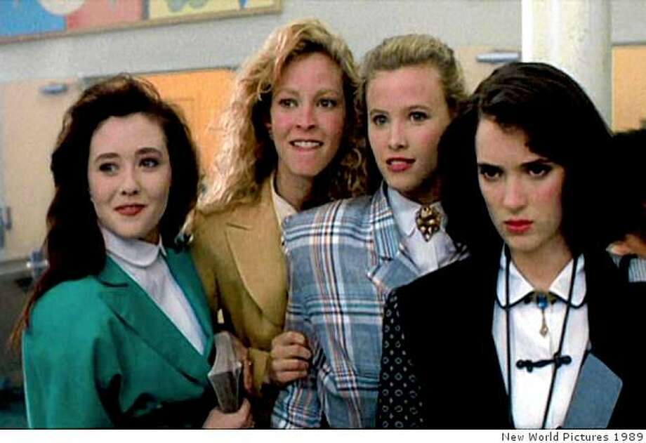 """Heathers"": From left, Shannen Doherty, Kim Walker and Lissane Falk as the three Heathers and Winona Ryder as Veronia. Photo: New World Pictures 1989"