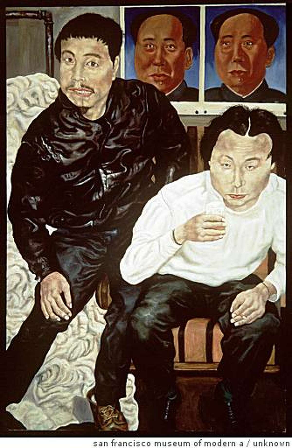 """""""Two Drunk Painters"""" (1990) Oil on canvas by Liu Wei 59 x 39 1/2 inches; Collection of Vicki and Kent Logan, fractional and promised gift to SFMOMA; photo: courtesy SFMOMA; � Liu Wei"""